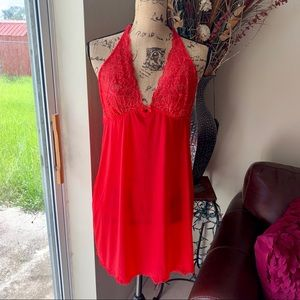 Victoria's Secret red halter lace babydoll
